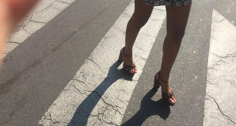 Slut ebony feet in the street
